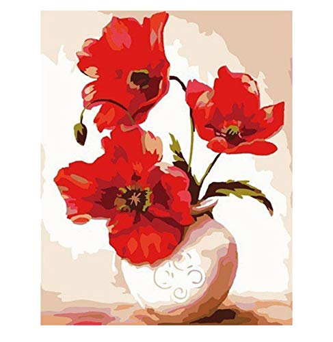 OKOUNOKO Artsailing Pictures by Numbers Deep Red Peony DIY Coloring by Numbers Wall Art Paintings by Numbers with Acrylic Paints Sin Marco 40X50Cm
