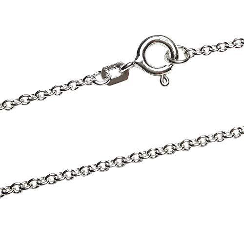 Ankerkette 1,3 mm breit - echt 925 Sterling Silber rhodiniert - Silberkette - Halskette - Herren - Damen - Kinder (45)