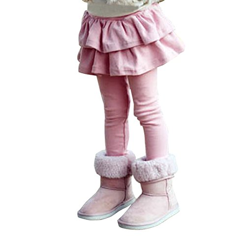 Tkria Pantaloni da Bambina Mini doppie Gonna Leggings Elastico Collant Caldo 2-8 anni