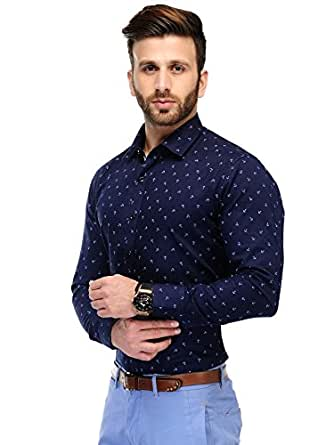 Edjoe Men's Black Anchor Printed Slim Fit Casual/Party Wear shirt