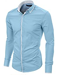 MODERNO Chemise Homme Casual Slim Fit Manche Longues Col Boutonne (MOD1445LS)
