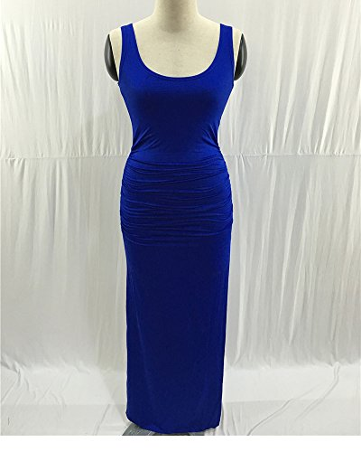 Elegante Donna Vestito Lunghi Tubino Senza Maniche Lungo Abito Da Sera Abiti Cocktail Spacco Blu Zaffiro