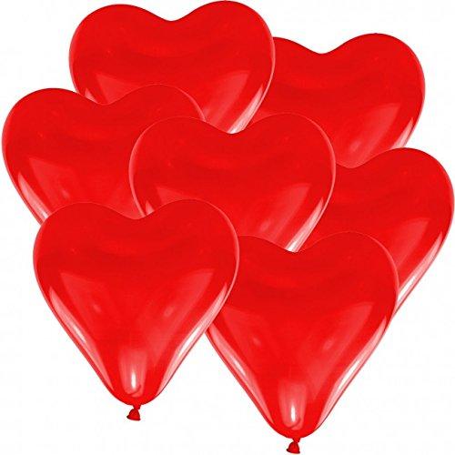 100 Herz Luftballons Ø 30 cm Farbe frei wählbar Herzballons Helium Luftballon (Rot)