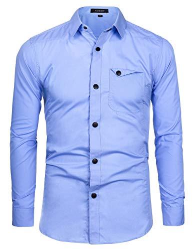 Kuson Herren Business Hemd Regular fit für Freizeit Hochzeit Reine Farbe Hemden Langarmhemd Blau L