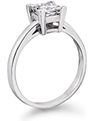 Zertifikat Klassischer 18 Karat (750) Weißgold Damen - Diamant Ring Princess 0.70 Karat F-SI1 (Ringgröße 48-63)