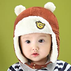 Generic Blue : Korean version of the new winter hats for boy and girl infants and young children baby winter warm ear warmers headgear caps