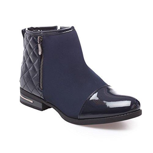 La Modeuse - Boots bi-matière en smili cuiravec empiècements vernis sur le bout etmatelassésur le talon Bleu