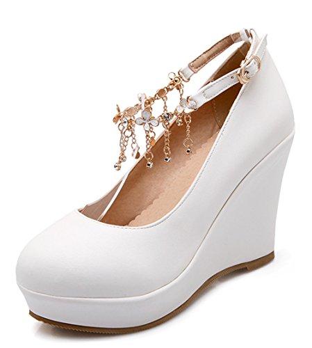 YE Damen Wedges Keilabsatz High Heels Plateau Pumps mit Riemchen 10cm Glitzer Strass Eelgante Bequeme Schuhe Weiß