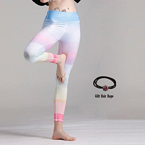 en-Farbige Yoga Leggings, Frauen Yoga Hosen, Tanzkleidung Leggings (Regenbogen Größe S, M, L, Geschenk Haar Seil),S (Regenbogen-farbige Leggings)
