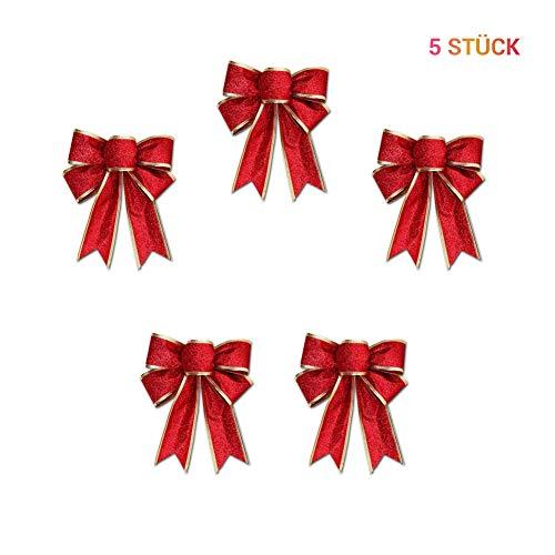 Surenhap Weihnachtsbaum Anhänger, Schleifen Ziehschleife Weihnachtsdeko für Weihnachten Hochzeit Geburtstag Fenster Deko, 25 * 20cm (Rot, 5pcs)