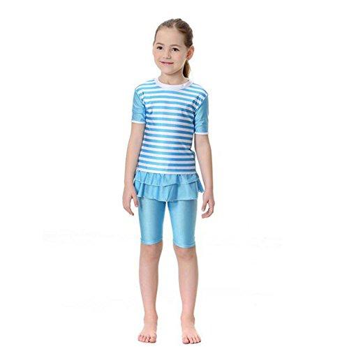 Meijunter islamisch Muslim Mädchen Sommer Badeanzug 2-Stück Bademode Malaysia Araber Middle East Bescheiden Bathing Suit Burkini Beachwear Für Kinder (Farbe:Blau,Größe:L) (Stück Bademode 2)