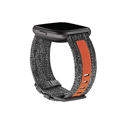 Imagen de correas textiles para fitbit versa 2, gris carbón/naranja, talla grande