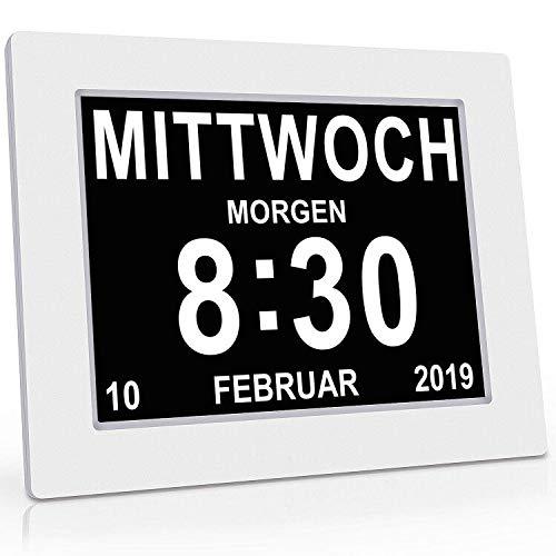 Digital Wecker 8 Zoll mit Digital Kalender Tag Uhr, 8 Zoll Groß Tischuhr/Wanduhr/Standuhr , Seniorenuhr mit Wochentag und Datum, Digitale Uhr für Senioren ,Sehschwache & Demenzkranke (z.B Alzheimer)