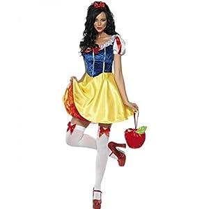 Ladies Sexy Snow White Get Up W/Headband Fancy Dress Costume Size Large (disfraz)