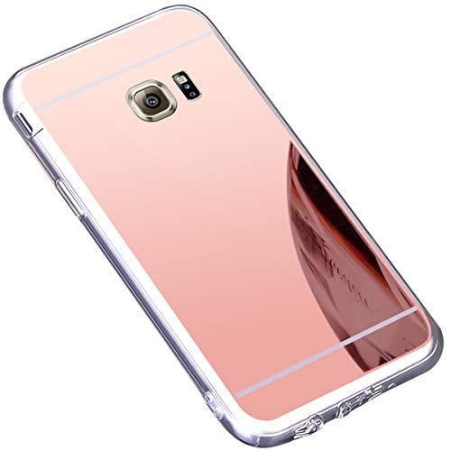 kompatibel mit Galaxy S6 Edge Plus Hülle,Schutzhülle für Galaxy S6 Edge Plus TPU Silikon Hülle Schutz Handy Hülle Case Spiegel Hülle Bling Strass Weiche TPU Telefon-Kasten Mirror Case Cover,Gold - Aus Bling Telefon-kästen