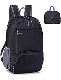 MRPLUM 30L Ligero Packable Mochila, Unisex Durable Resistente al Agua práctico Mochila para Viajes y Deportes al Aire Libre (Negro)
