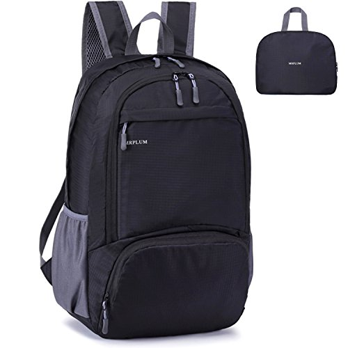 Mrplum rucksack, foldable ultralight packable backpack, 25l unisex durable handy daypack for travel, outdoor sports, durable and waterproof (nero)