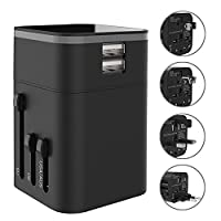 Travel Adapter - Universal International Travel Charger All-in-one Wall Charger Plug [US UK EU AU] with 3.2A Dual USB Ports For Apple, iPod, iPad, Android Smartphone -Safety Fuse Protection (Black)