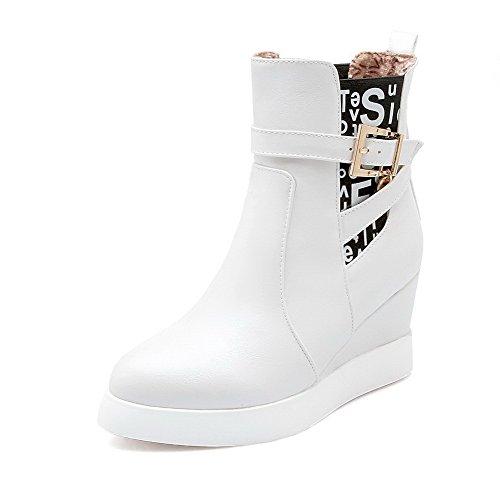 AgooLar Damen Hoher Absatz PU Rein Ziehen auf Rund Zehe Stiefel, Weiß, 42