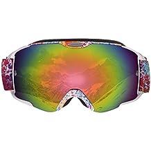 LESHP Gafas de Esquí 3 Capas de Espuma Cómodas Ajustables Desmontables Antifricción Anti-vaho Antivaho Desmontable Gafas de Nieve Gafas de snowboardí Esférica Más Amplia Visión 178×98mm Color Rojo Gafas Ski (Color Floral para Adultos Gafas Ski)