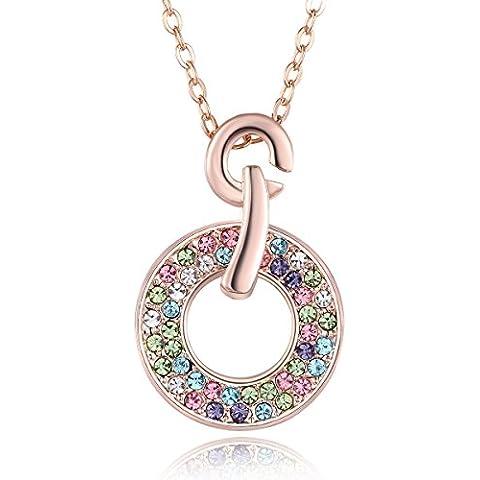 City Ouna® Elementos de Swarovski colorido ronda collar de amor mujer con rosa collar plateado oro 40 cm + 5 cm