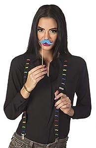 Boland BOL00653 - Tirantes negros con bigote neón, adulto