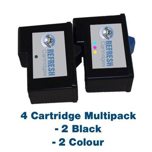 7y743 Tintenpatrone (4er Pack Patronen - 2 x Dell 7Y743 (Schwarz 592-10043) and 2 x Dell 7Y745 (Farbe tinte 592-10045) Wiederaufgefüllt Patronen für die verwendung mit Dell A940 and A960 Drucker - Refresh Cartridges)