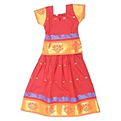 Pkd Girls Ethnicwear Pattupavada Red