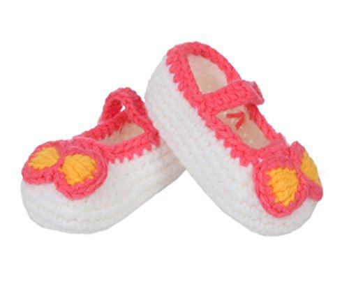 Bigood(TM) 1 Paar Strick Schuh Baby Unisex Strickschuh One Size süße Muster 11cm Schwein Blau Pink Weiss