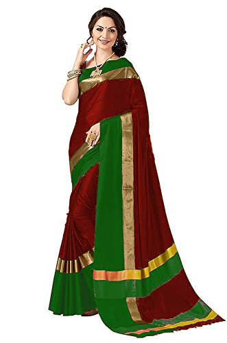 Perfectblue Women\'s cotton Silk Saree With Blouse Piece (MaroonGreenVisva)