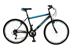 """FalconEvolve 2016 Unisex Mountain Bike Blue/Grey, 19"""" inch steel frame, 18 speed powerful front and rear steel v-brakes deep section alloy rims"""