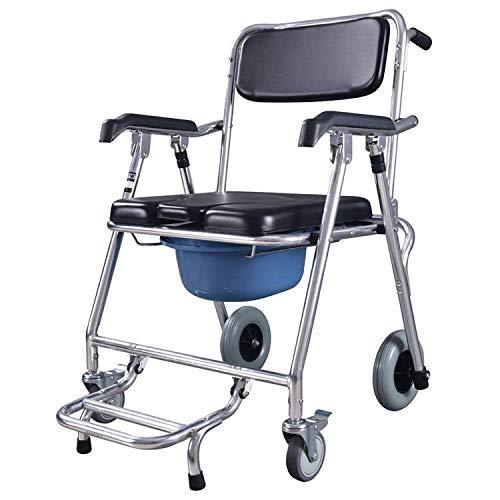 GUDEMN Kommode für Toilettenhocker Bad Senioren Behinderte, Stuhl Mobiler Toilettenstuhl mit Rollsitz Rollstuhl Transportstuhl Duschstuhl Faltbarer Transport - Mobiler Duschstuhl