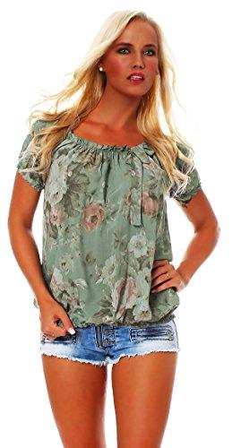 Sommerbluse: ZARMEXX Damen Bluse Kurzarmshirt Carmenbluse – Blumenmuster BIG ROSE