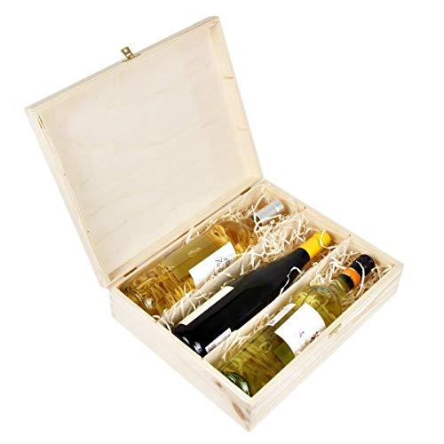 Amazinggirl Weinbox Geschenk-Box Holz Holzbox mit Deckel - Holzschatulle Holzschachtel Schatulle Weinkiste Holzkiste für 3 Wein-Flaschen