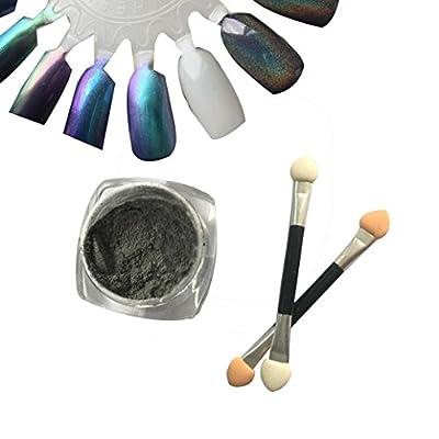Fulltime(TM) 1g/ Box Laser Sliver Shinning Mirror Nail Glitter Powder Dust Nail Sequins Art Makeup DIY Chrome Pigment With Sponge Stick
