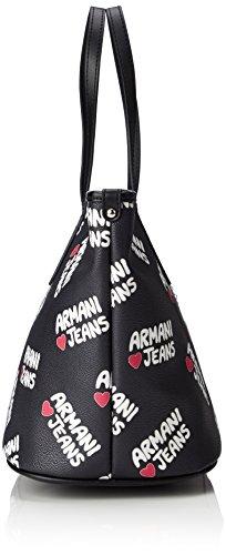 ARMANI JEANS Borsa shopper logo cuore, donna, similpelle,922029 nero, manici Nero (Nero 00020)