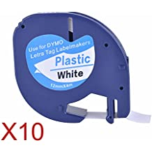 10XCompatible Dymo LetraTag 91201 Black on White (12mm x 4m) Plastic Label Tapes for Dymo LetraTag LT-100H, LT-100T, LT-110T, QX 50, XR, XM, 2000, Plus Label Makers