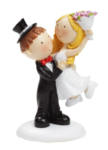 Hochzeitspaar mit Blumenstrauss Hochzeit Figur Deko Brautpaar 9 cm