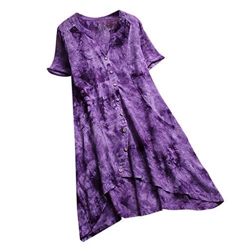 Carolui Vintage Print V-Ausschnitt Kurzarm Kleid für Frauen Taste Unregelmäßigkeit Kleid Damen Plus Size Leinen Kleider(Lila,L) -