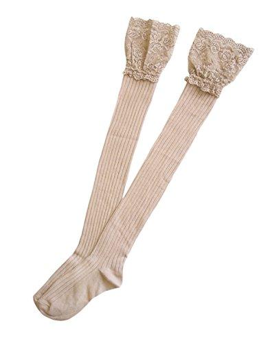Damen reizvolle Overknees mit breiten Spitze Baumwollstrümpfe Frauen Mädchen Halterlose Strümpfe Streifenmuster (tiefe Bräune) (Braune Kniestrümpfe)