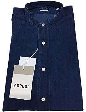 ASPESI camicia uomo color denim collo coreano mod A CE76 A834 BRUCE 100% cotone