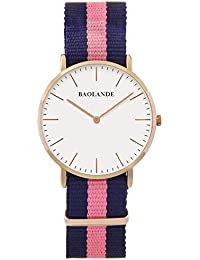 Alienwork Classic St.Mawes Reloj cuarzo elegante cuarzo moda diseño atemporal clásico Nylon oro rosa azul U04822L-02