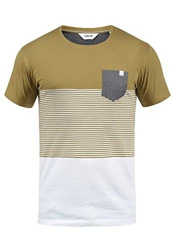!Solid Malte Herren T-Shirt Kurzarm Shirt Mit Streifen Und Rundhals, Größe:L, Farbe:Ermine (5944) -