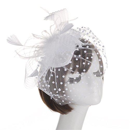 Weiße Ascot (Ying xinguang Damen Fascinator Hut Brautschmuck Feder Haarspange Zubehör Cocktail Royal Ascot, weiß)
