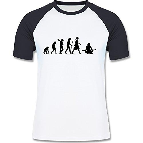 Evolution - Meditation Evolution - zweifarbiges Baseballshirt für Männer Weiß/Navy Blau