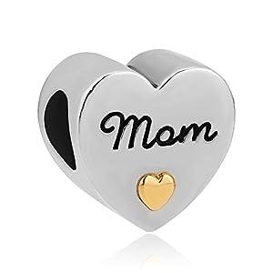 """Perle mit vergoldetem Herzen von Uniqueen, passend für Armbänder von Chamilia, mit der Aufschrift """"I Love You"""""""
