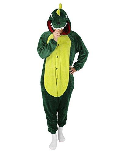 üm Jumpsuit Schlafanzug Plüschtier Flanell Cosplay Karneval Fasching (M: für Höhe 158-167, Dinosaurier Grün) (Dinosaurier Hoodie Für Erwachsene)