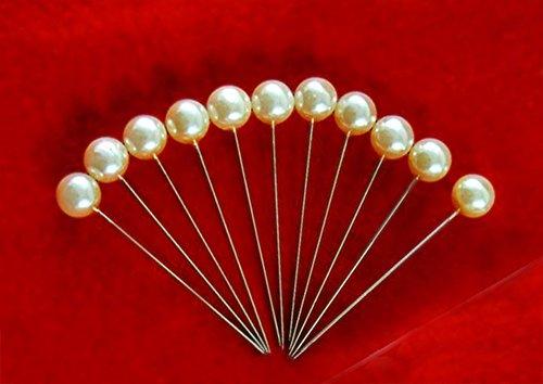 100 Perlennadeln Nadeln Hochzeit Perlkopf creme Stecknadeln Dekonadeln Ø 6 mm