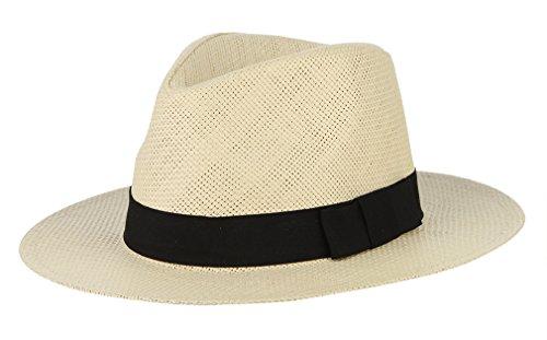 GEMVIE GEMVIE Unisex Fedora Strohhut Panama Sonnenhut Strandhut Größe 58cm Beige