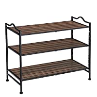 SONGMICS 3 Tier Stackable Expandable Shoe Rack with Adjustable Shelves, Shoe Storage Organizer Hallway, Metal Frame, 68.5 x 31 x 56 cm (L x W x H) LMR13BX
